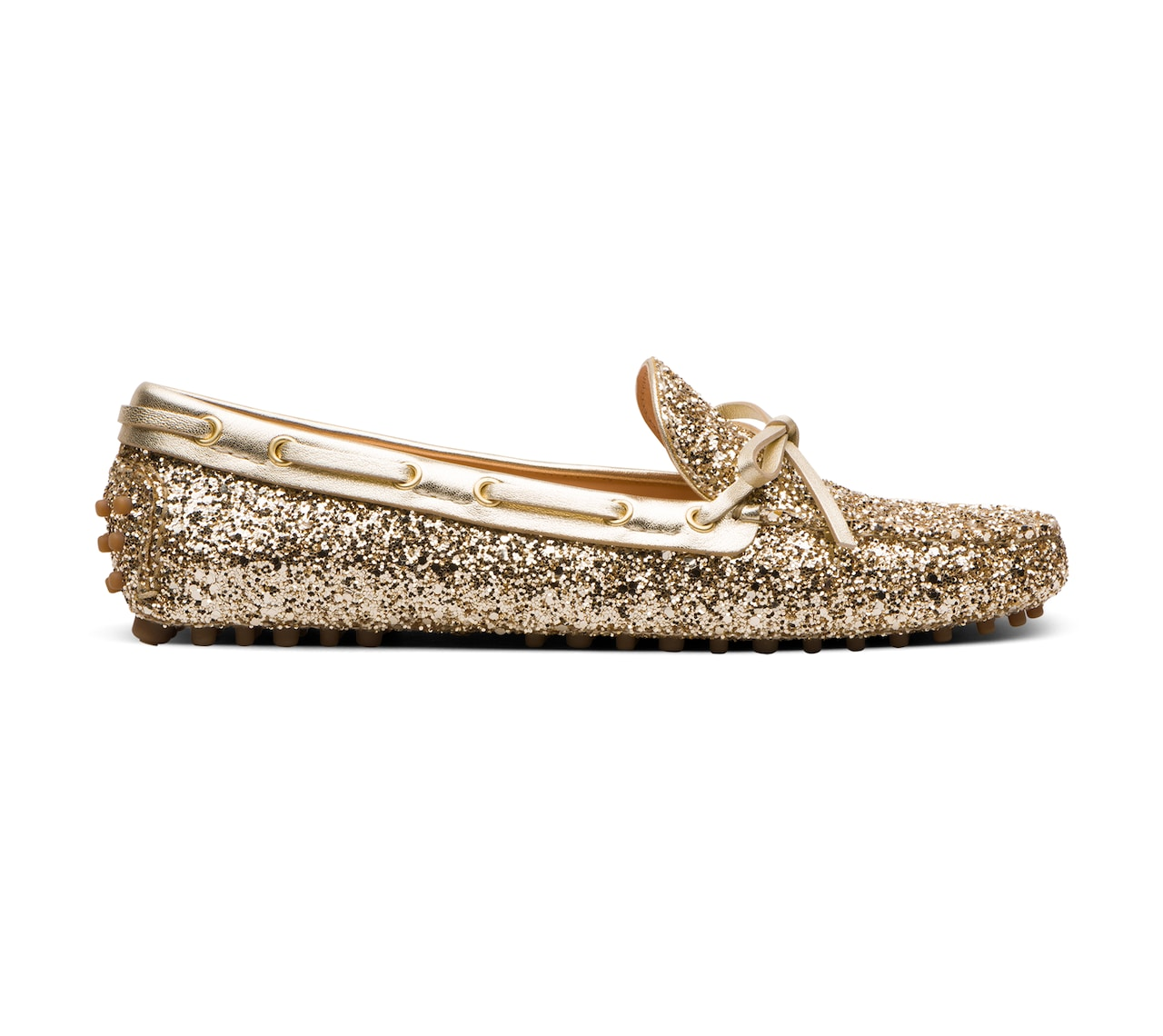 DRIVING SHOES GLITTER ORO/ARGENTO