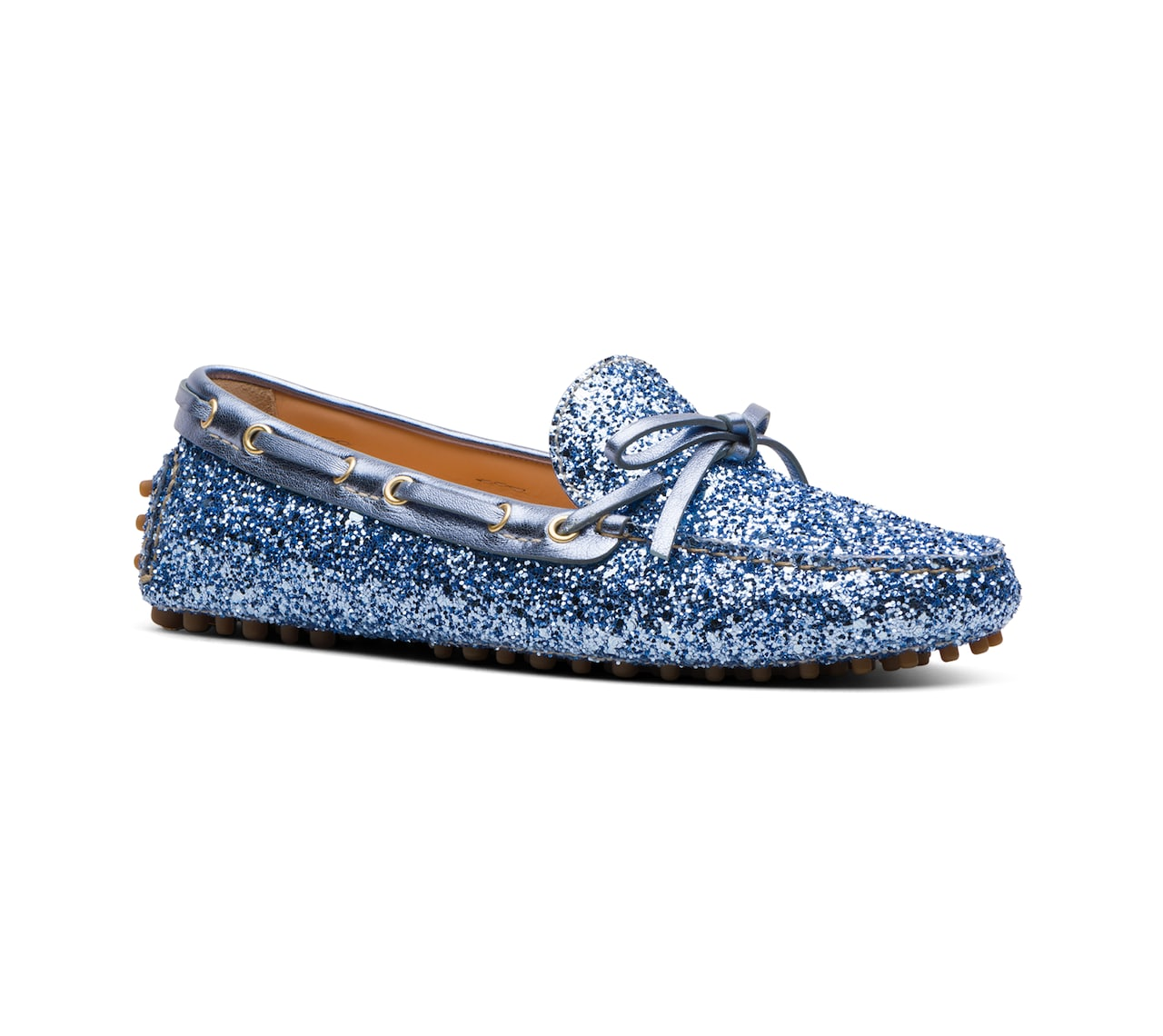 DRIVING SHOES GLITTER AZZURRO