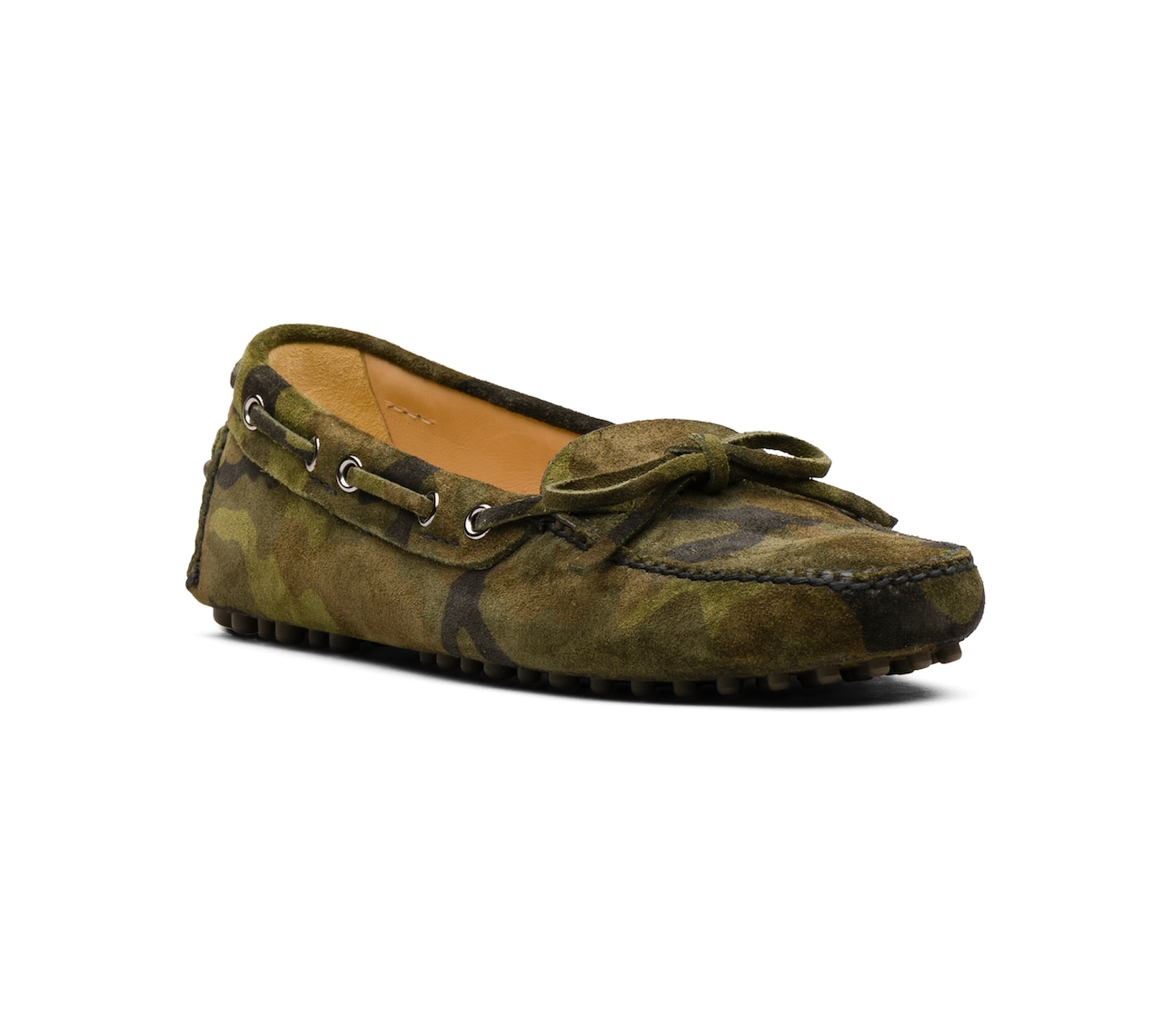 CAMOUFLAGE PRINTED SUEDE DRIVING SHOES GREEN