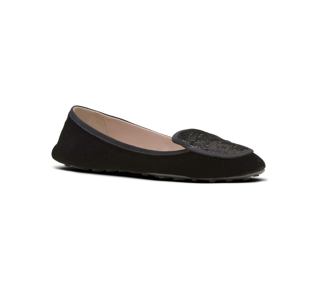 VELVET AND SEQUIN BALLERINAS BLACK