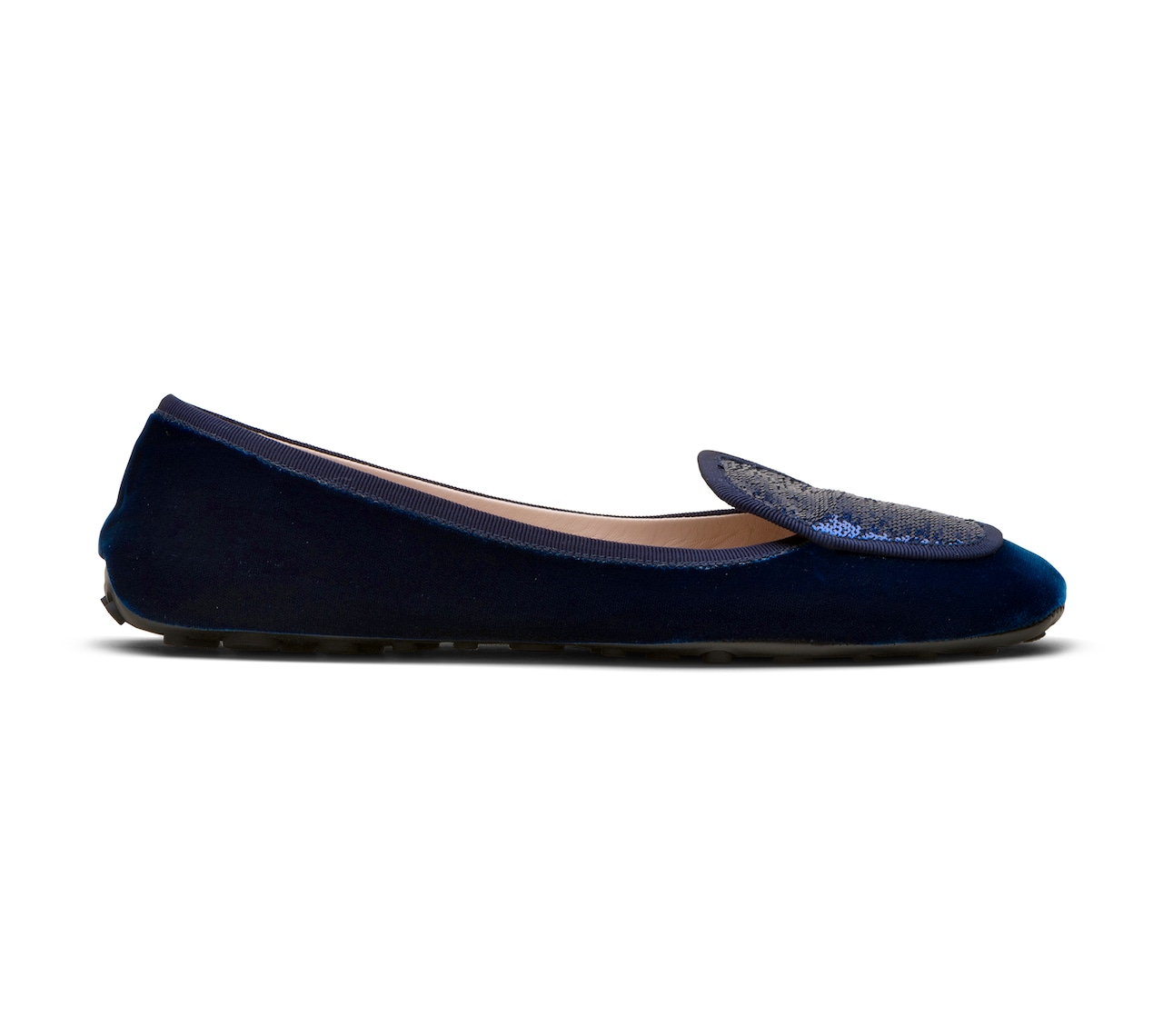 VELVET AND SEQUIN BALLERINAS BLUE