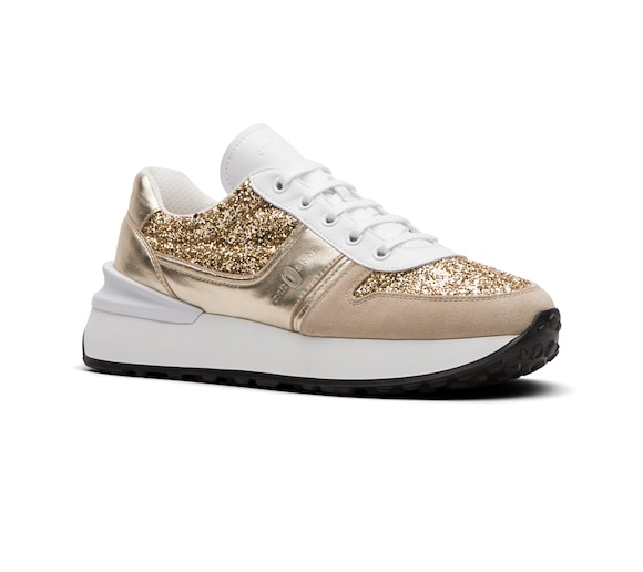 SUEDE AND GLITTER SNEAKER