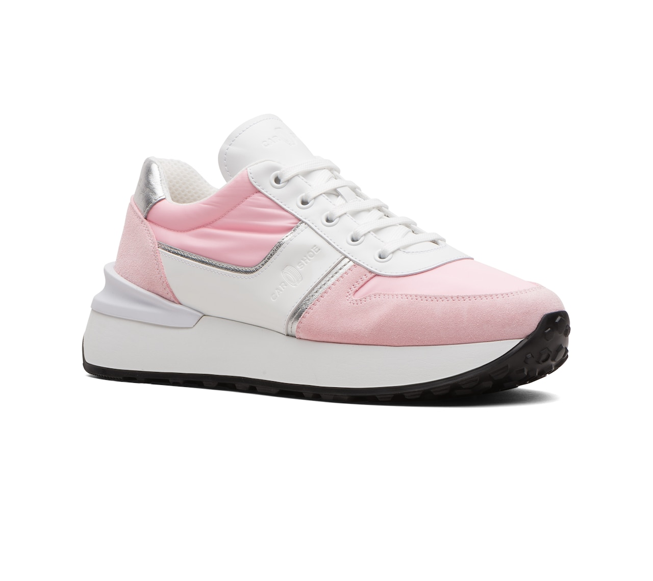 SUEDE AND NYLON SNEAKER PINK