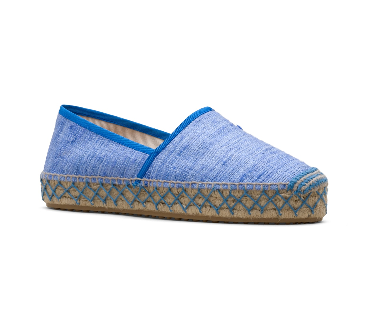 ESPADRILLAS IN UNLINED RAW SILK BLUE