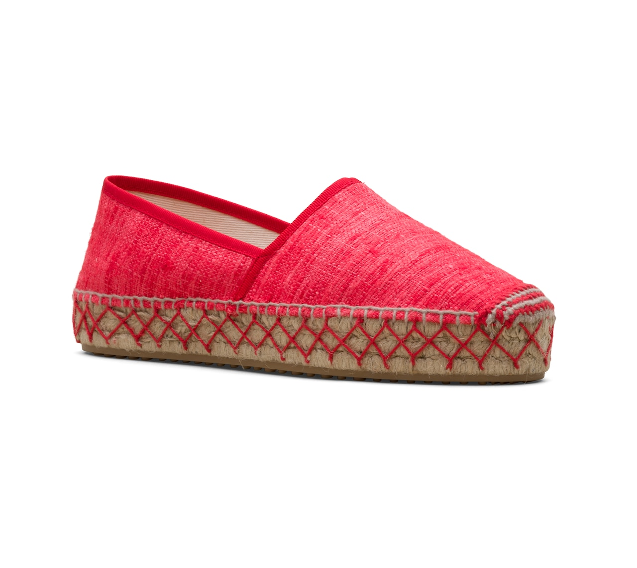 ESPADRILLAS IN UNLINED RAW SILK RED