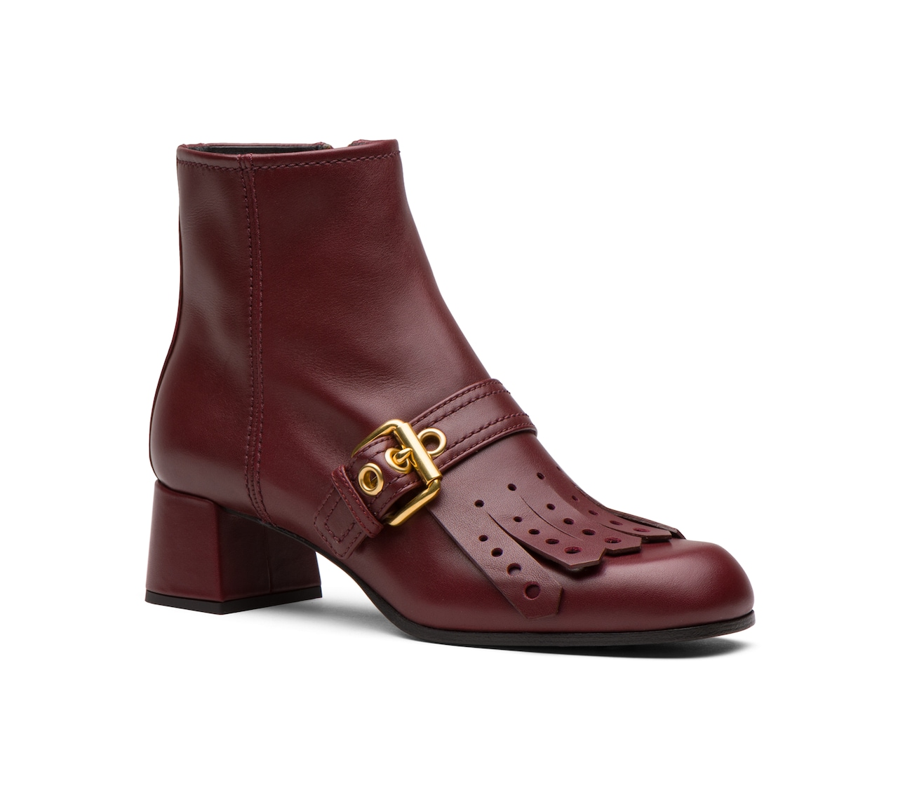 CALF LEATHER BOOTIES BURGUNDY