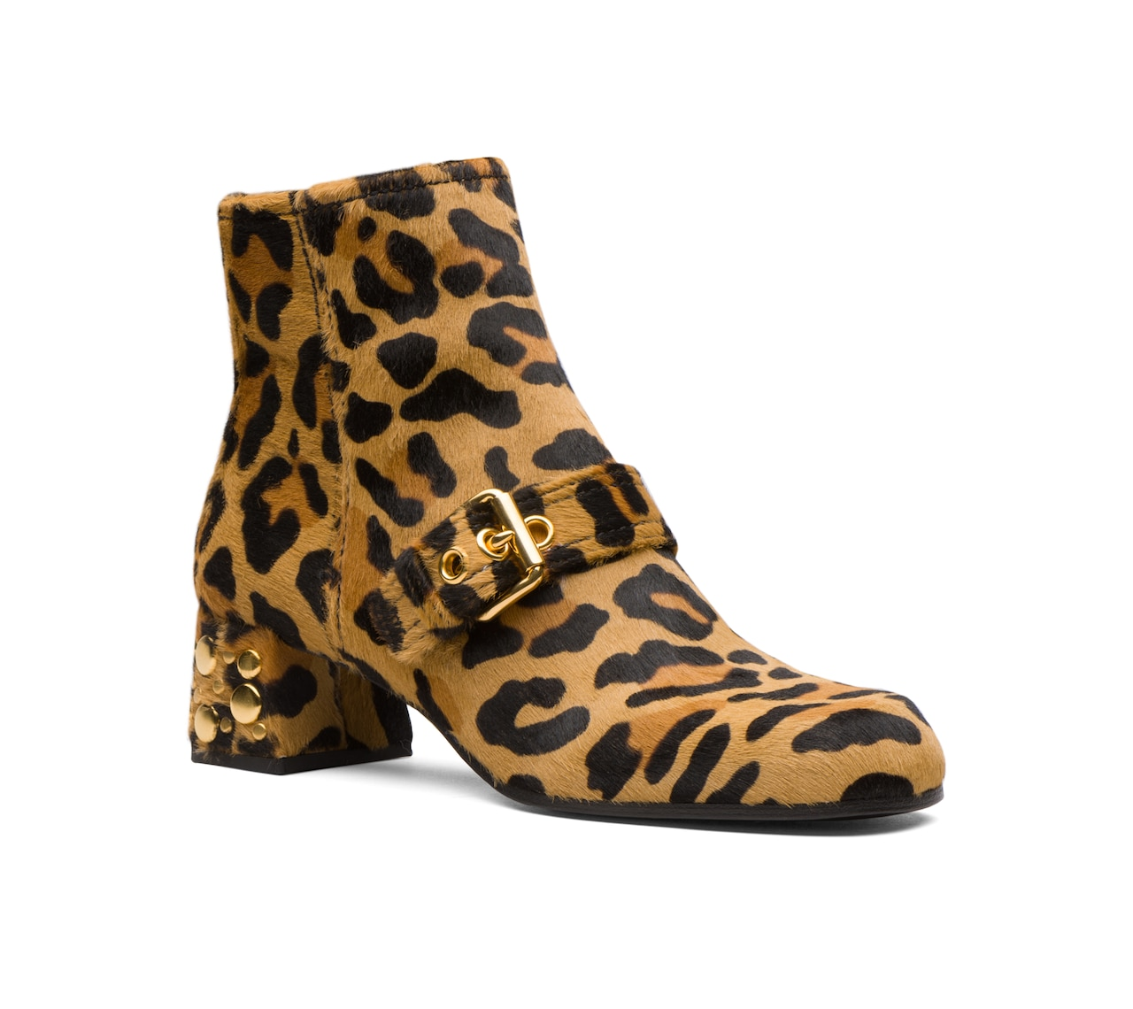 LEOPARD PRINTED PONY HAIR BOOTIES NEUTRAL