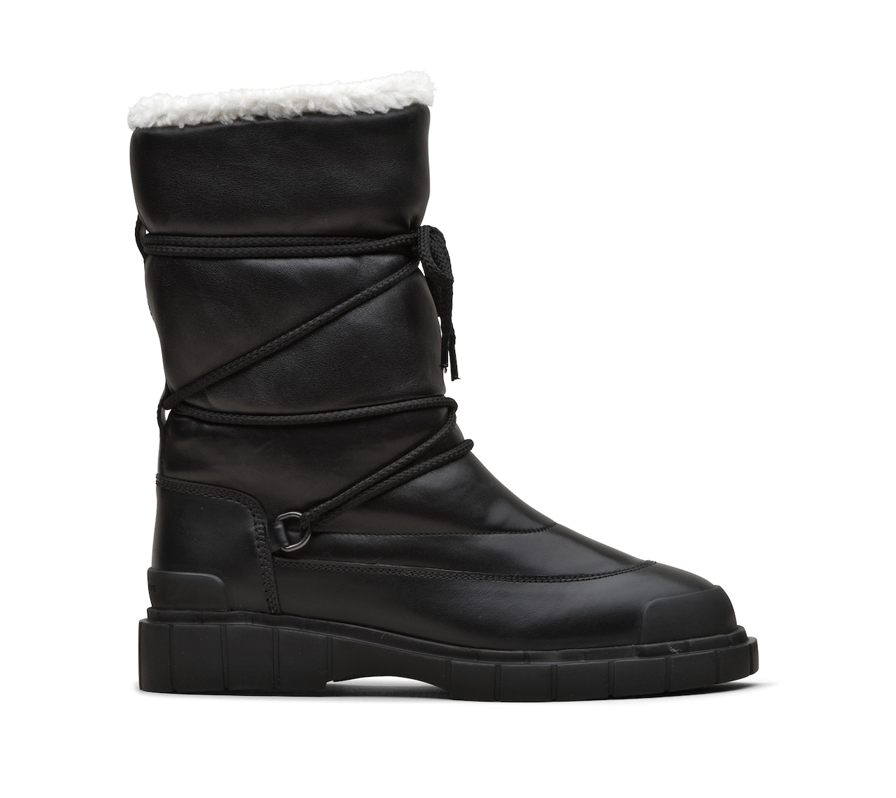 CALF AND ECO FUR BOOTIES BLACK