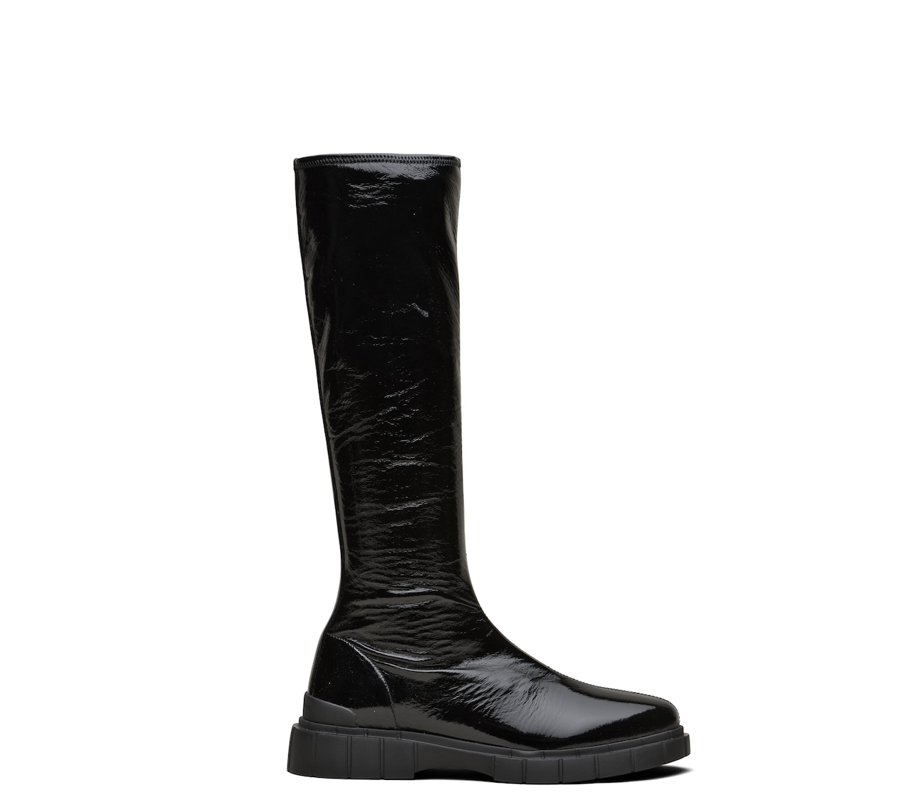 STRETCH PATENT BOOTS BLACK