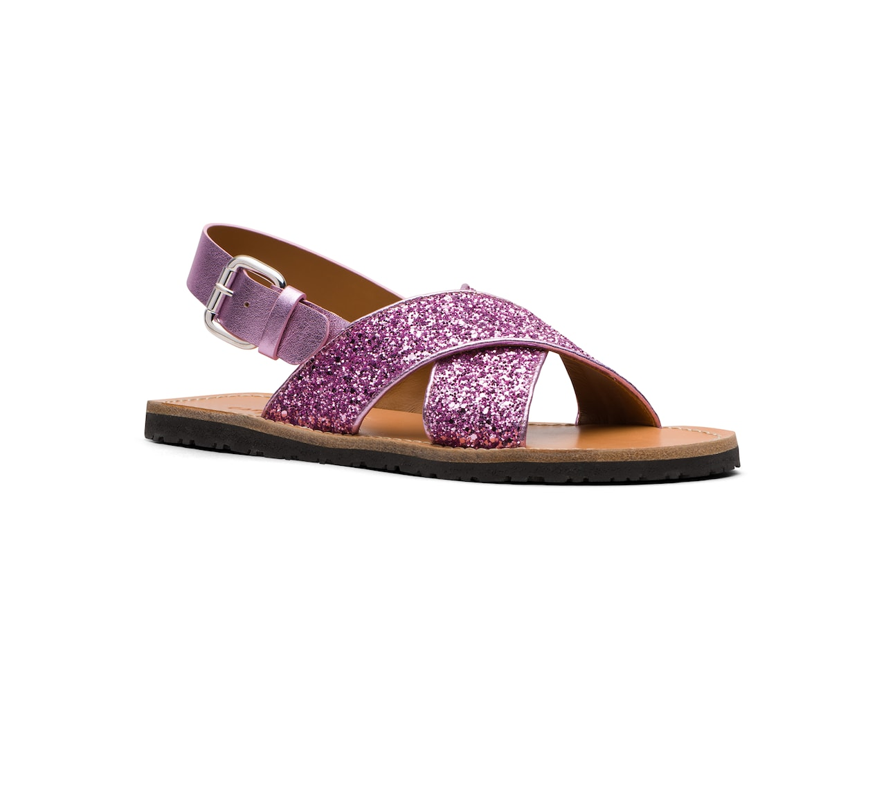 SANDALS IN GLITTER AND LEATHER PINK