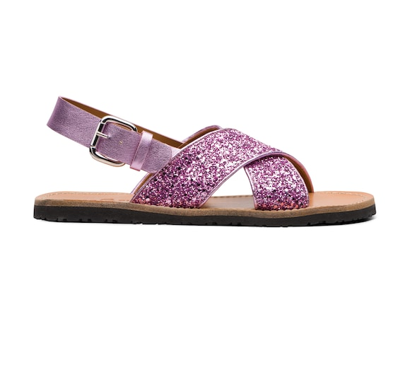 SANDALS IN GLITTER AND LEATHER