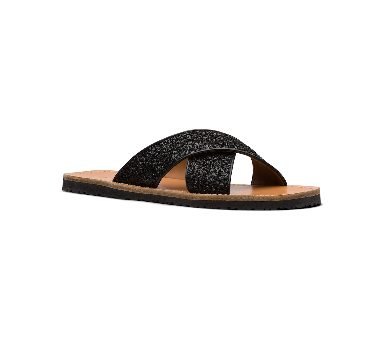 SANDALS IN GLITTER AND LEATHER BLACK