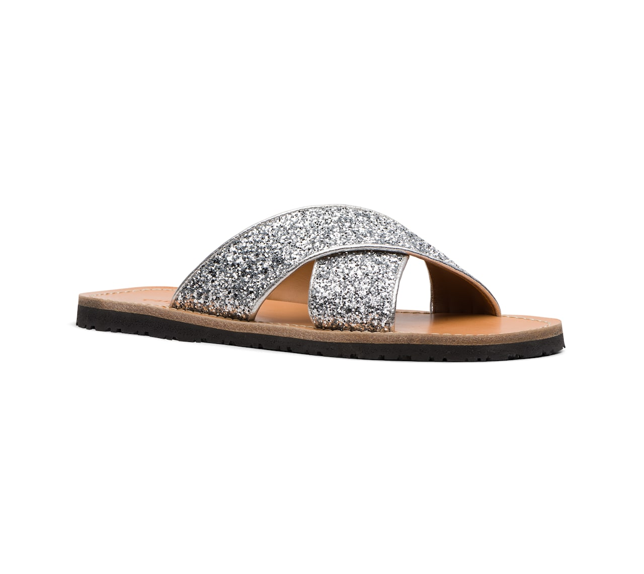 SANDALS IN GLITTER AND LEATHER GOLD/SILVER