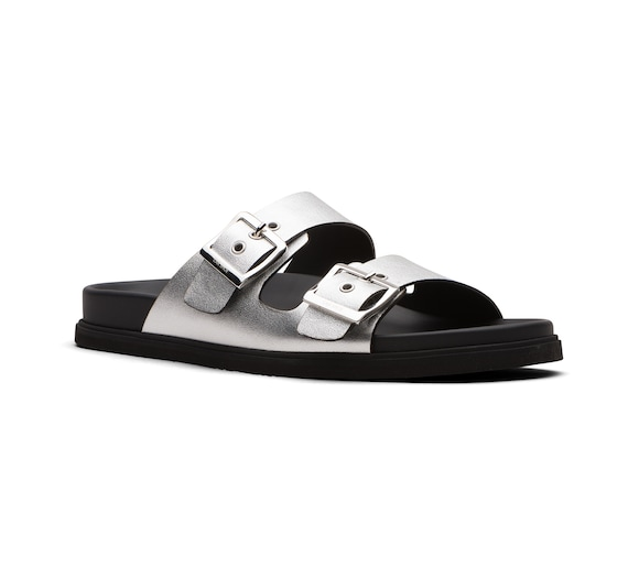 SANDALS LAMINATE CALF AND LEATHER