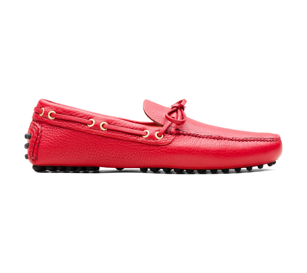 SOFT GRAINED LEATHER DRIVING SHOES RED