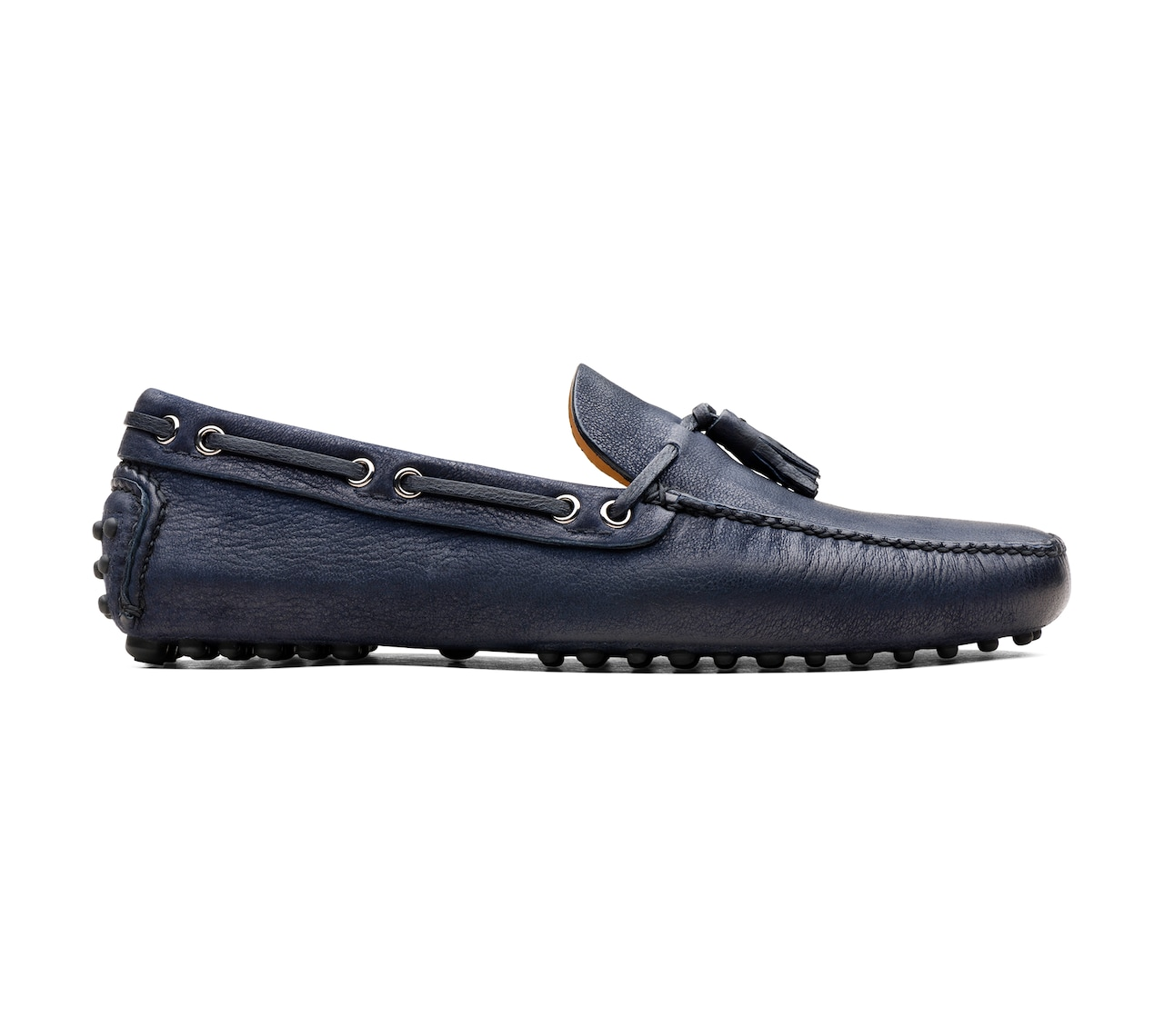 SOFT ANTIQUE GOAT LEATHER DRIVING SHOES BLUE