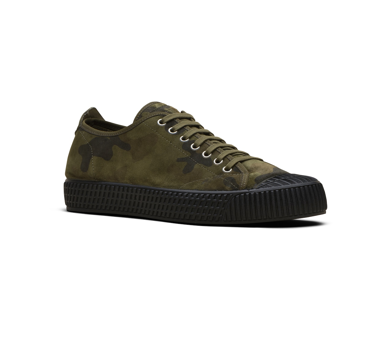 CAMOUFLAGE PRINTED SUEDE SNEAKER GREEN
